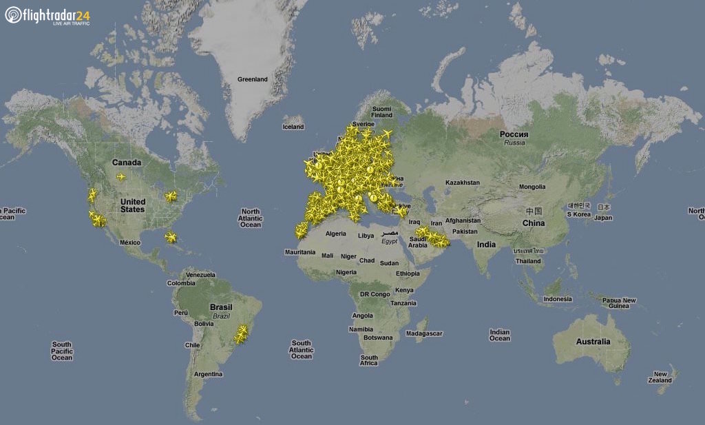 Flightradar24 coverage, December 2010