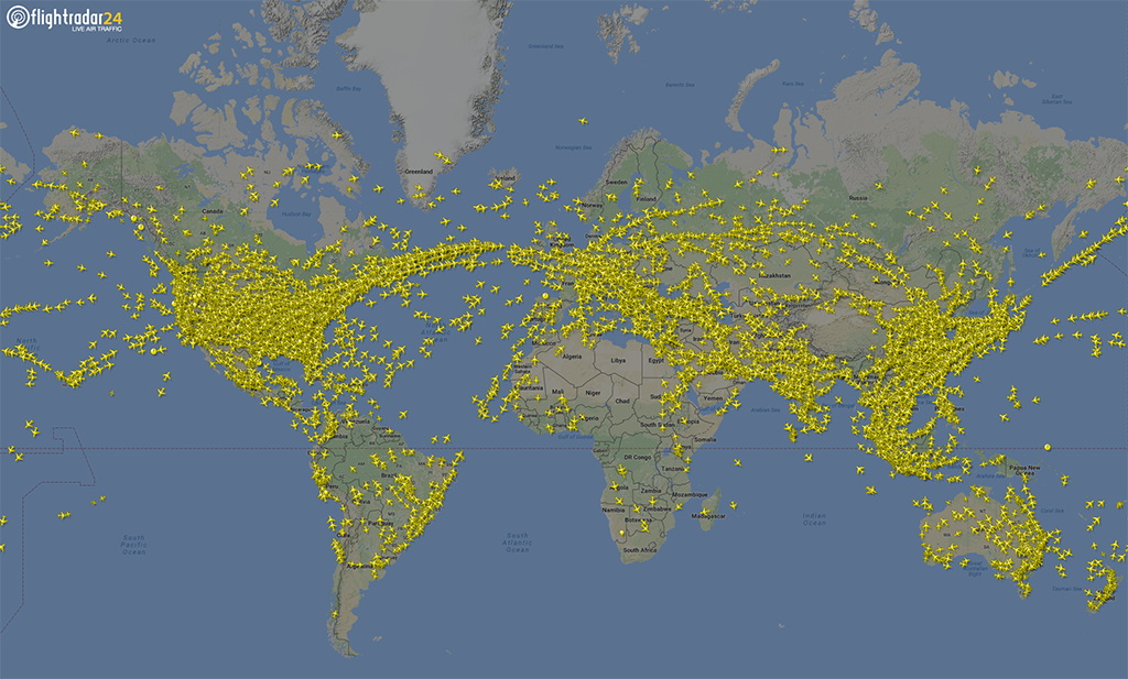 Flightradar24 coverage August 2016