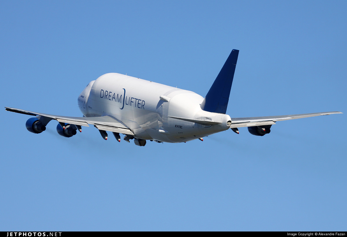 A Boeing Dreamlifter departing Anchorage.