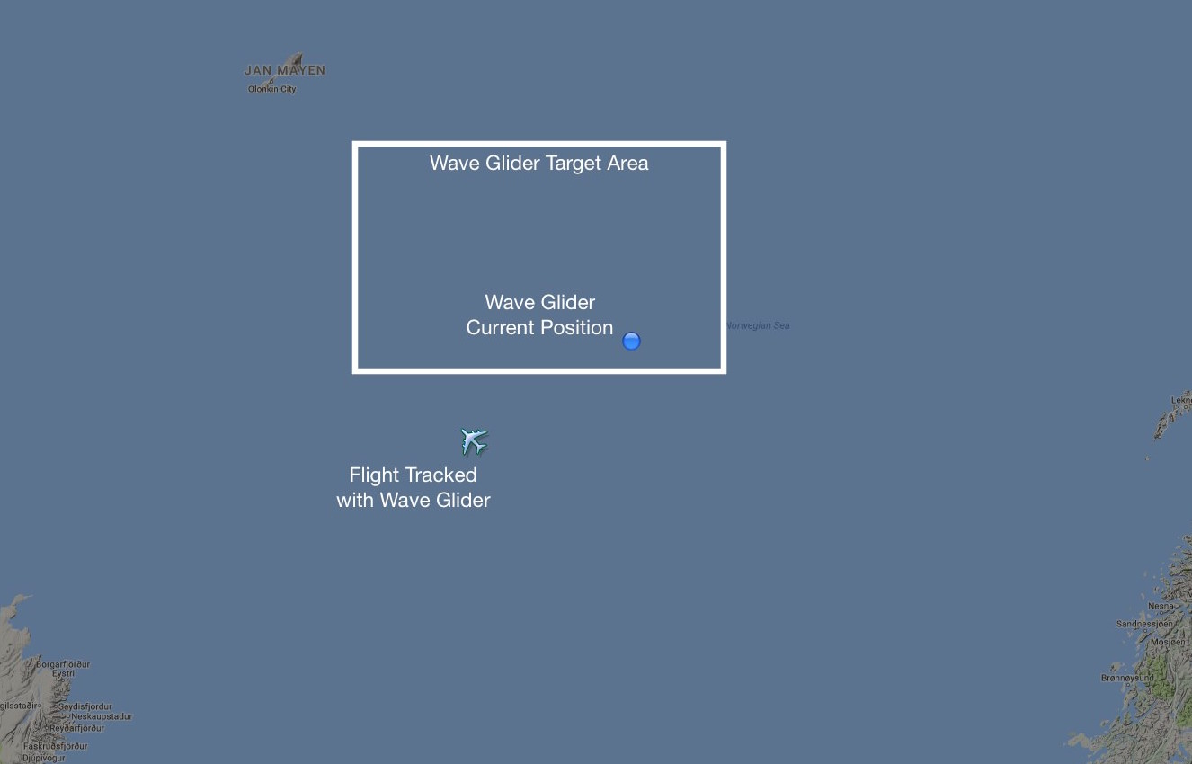 Our Wave Glider and ADS-B Receivers are now inside the target test area