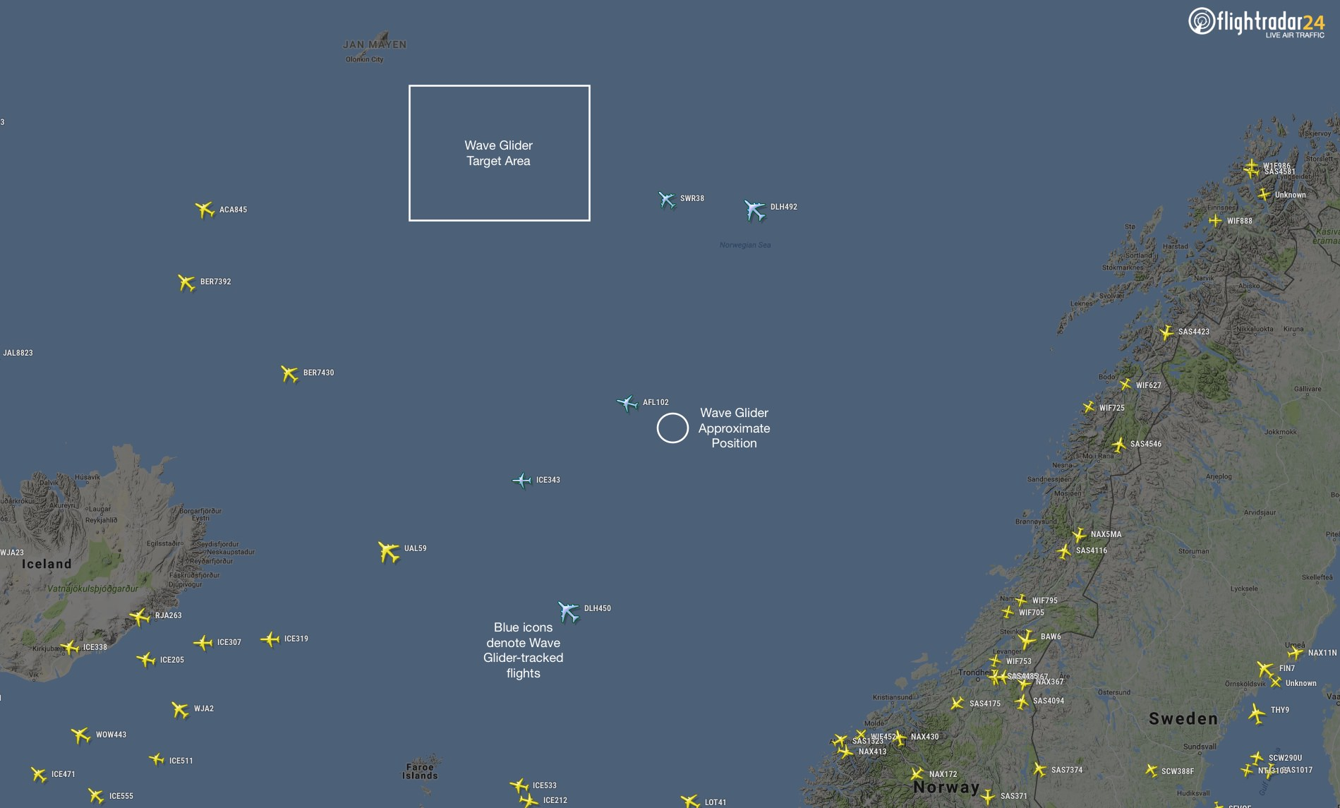 The Wave Glider is tracking flights on its way to the target area near Jan Mayen