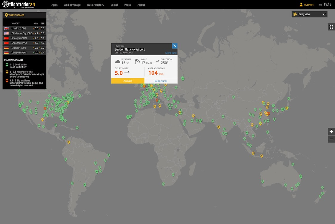 Click on an airport pin in Delay view to see delay stats and airport weather conditions