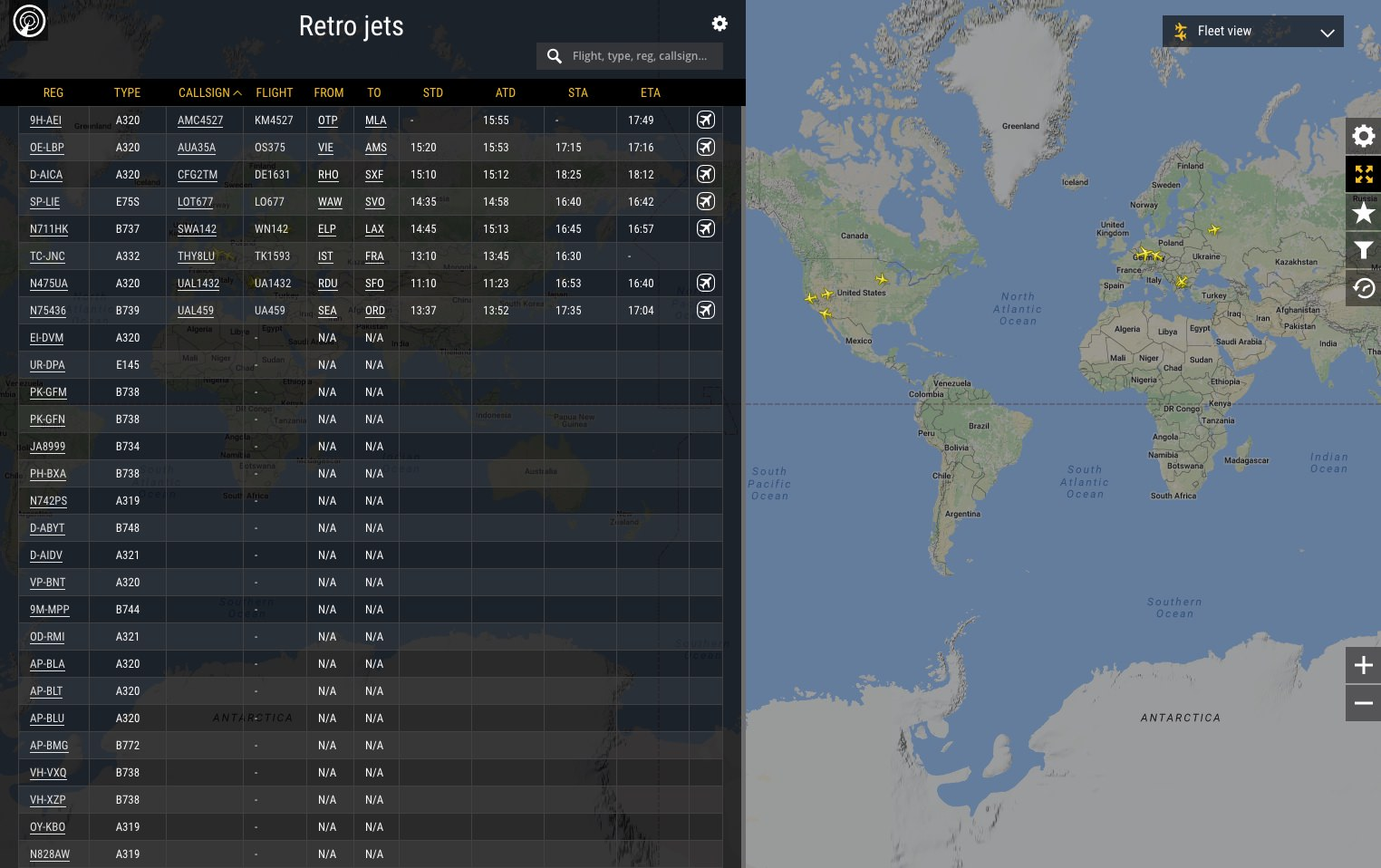 Fleet View Example Flightradar24 Blog
