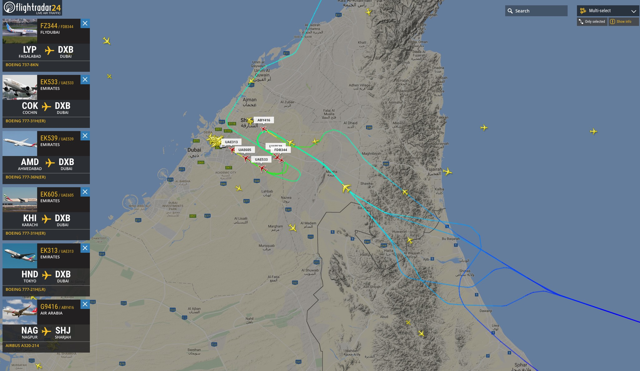 With Multi-select, view up multiple aircraft tracks at the same time