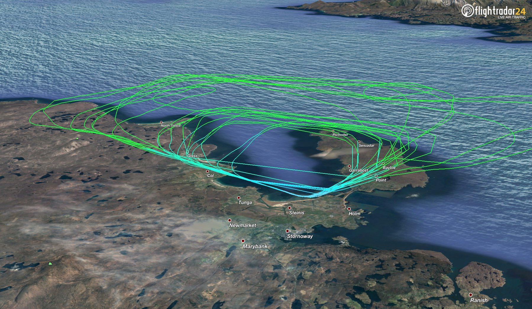 The track of the A350's crosswind landing practice at Stornoway