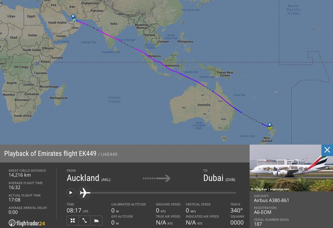 The world's longest flight, from Auckland to Dubai is 141 times longer than the ACH-FDH flight