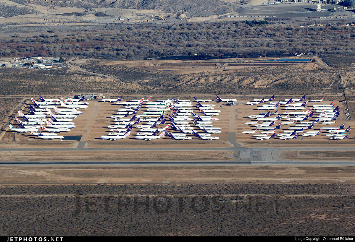 One of the storage areas at Victorville. Aircraft from around the world are retired to VCV.