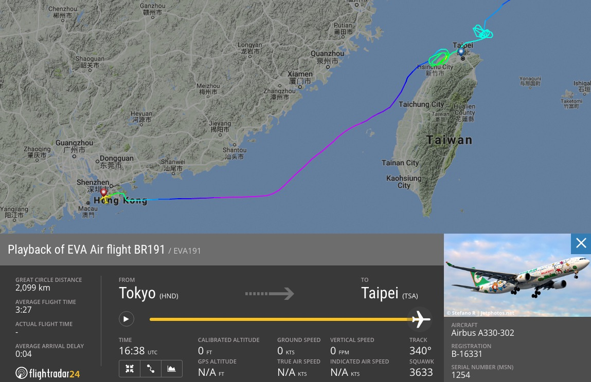 EVA Air flight 191 eventually diverted to Hong Kong after trying to land in Typhoon Megi