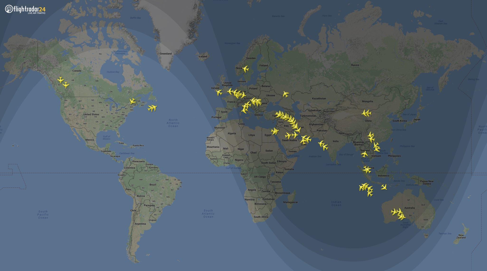 Emirates A380s in flight around the world