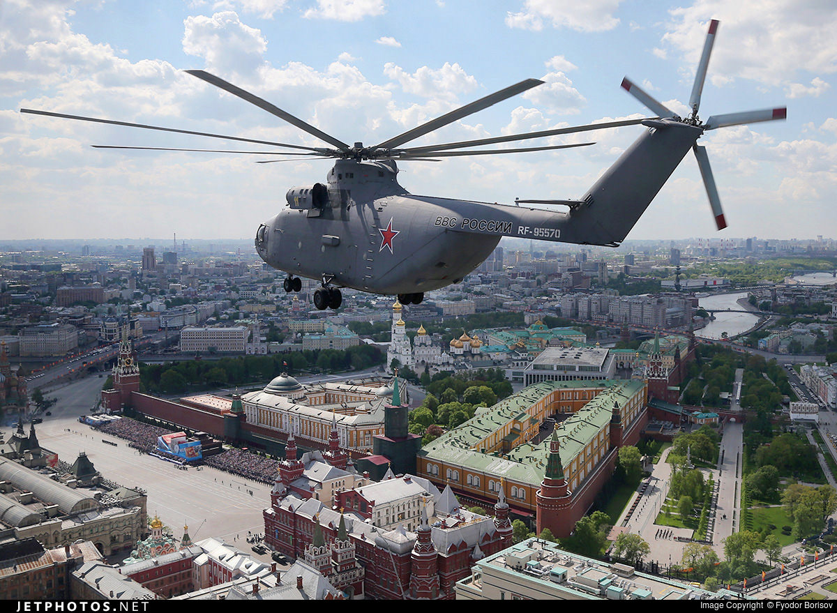 Russian Airforce Mil Mi-26 transport helicopter over the Kremlin, Moscow, Russia. (Photo by Fyodor Borisov/Transport-Photo Images)