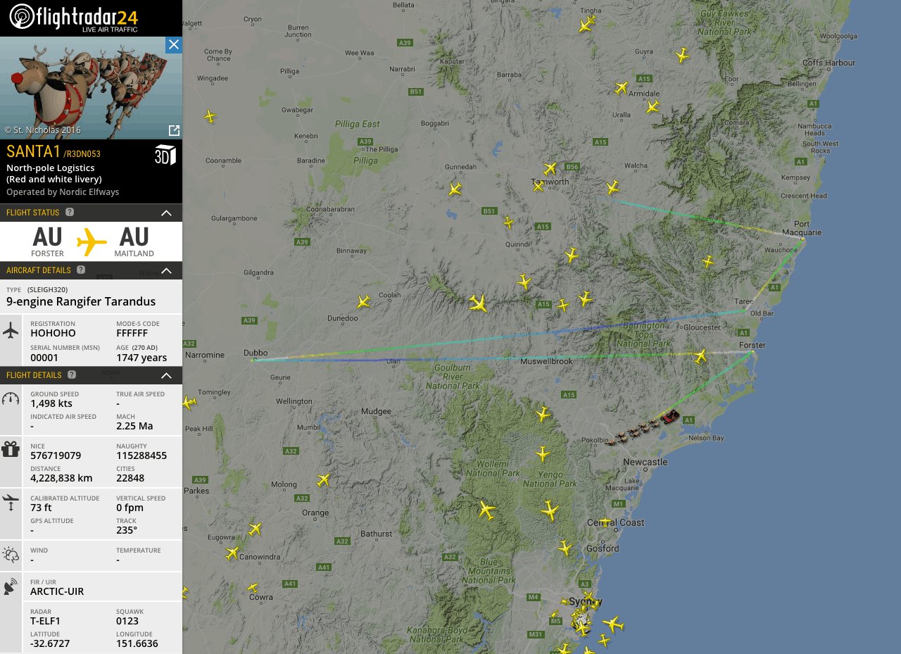 Santa doing some reconnaissance work over Australia before delivery presents on Christmas Eve