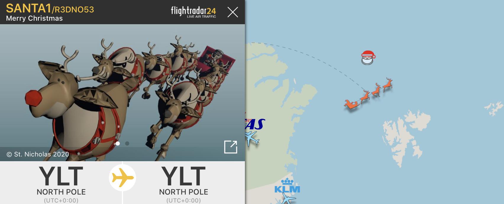 Santa being tracked in the Flightradar24 app