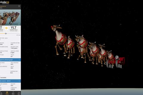 Tracking Santa on Flightradar24 in 3D