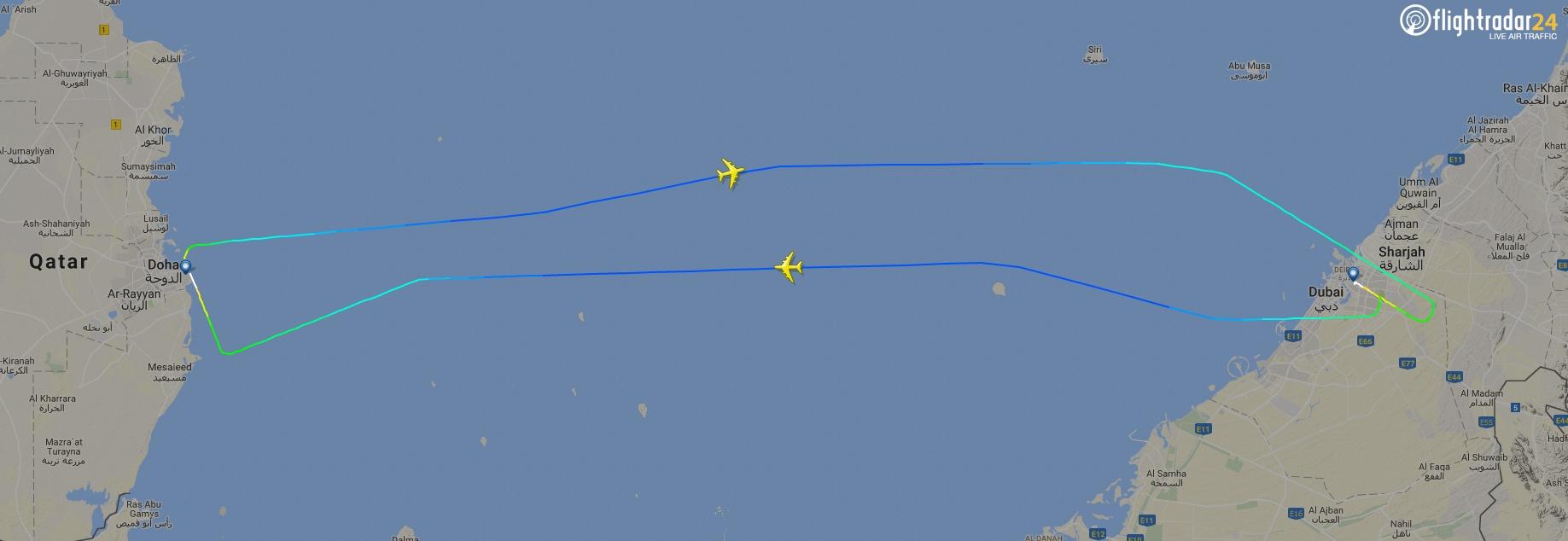The world's shortest A380 flight, Dubai-Doha