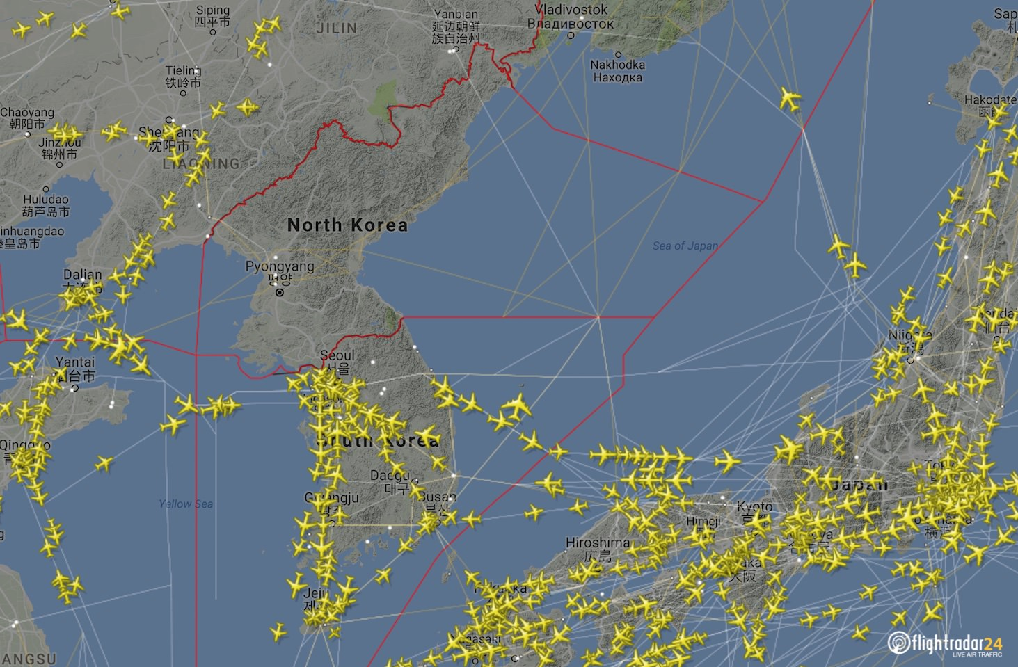 A Look At Airspace In North Korea And The Surrounding Area