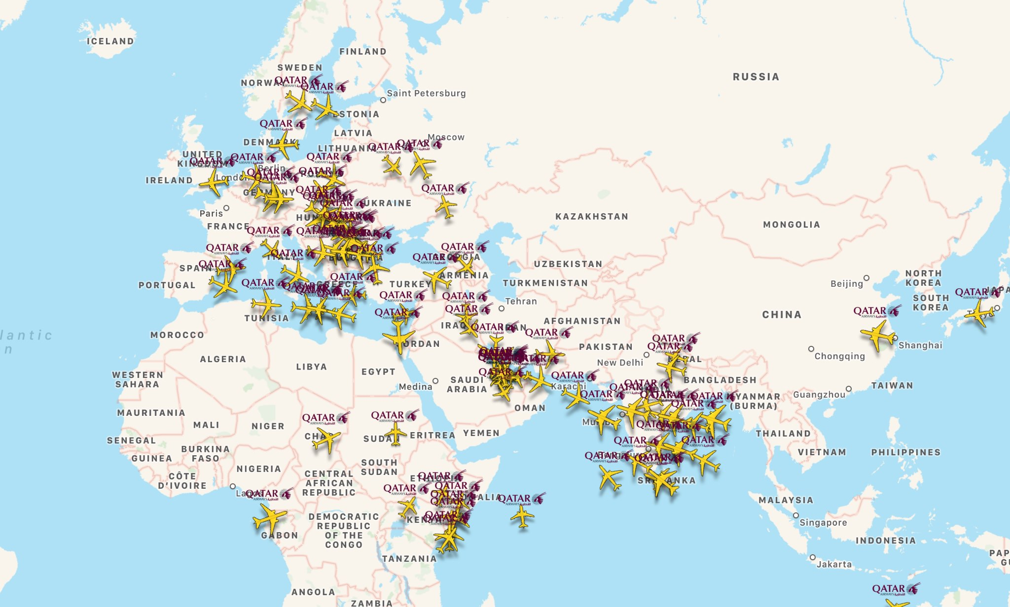 Qatar Airways Route Map on