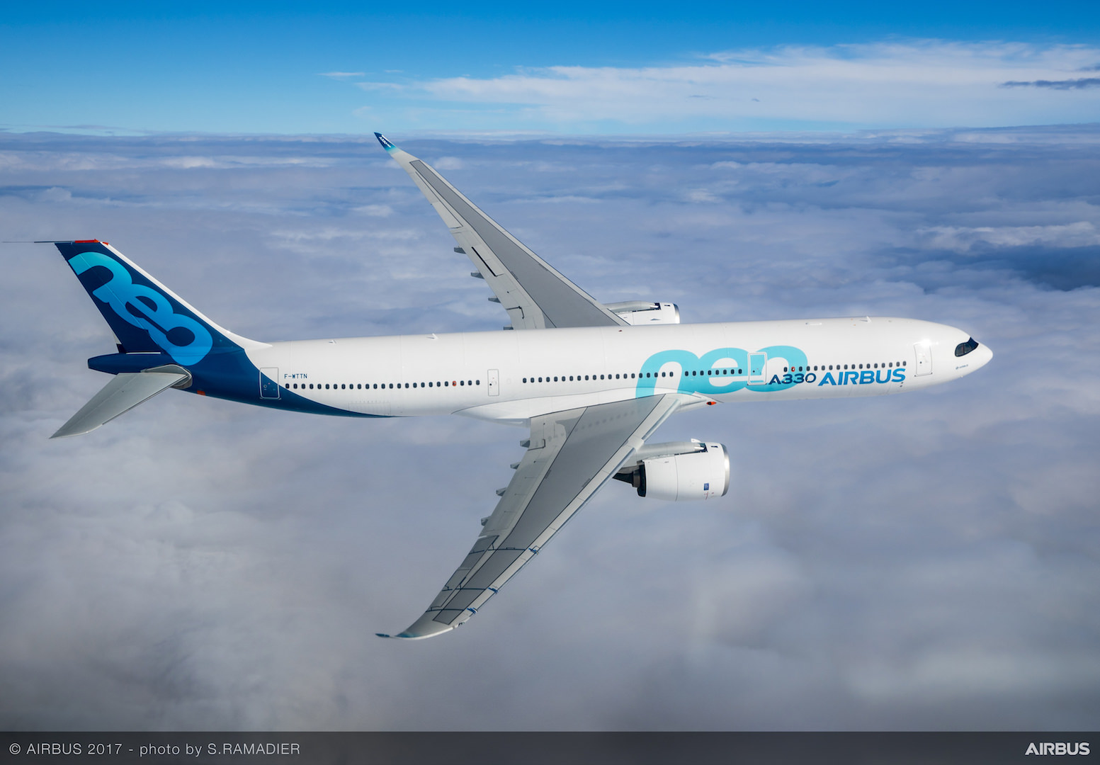 A330neo First Flight Side View