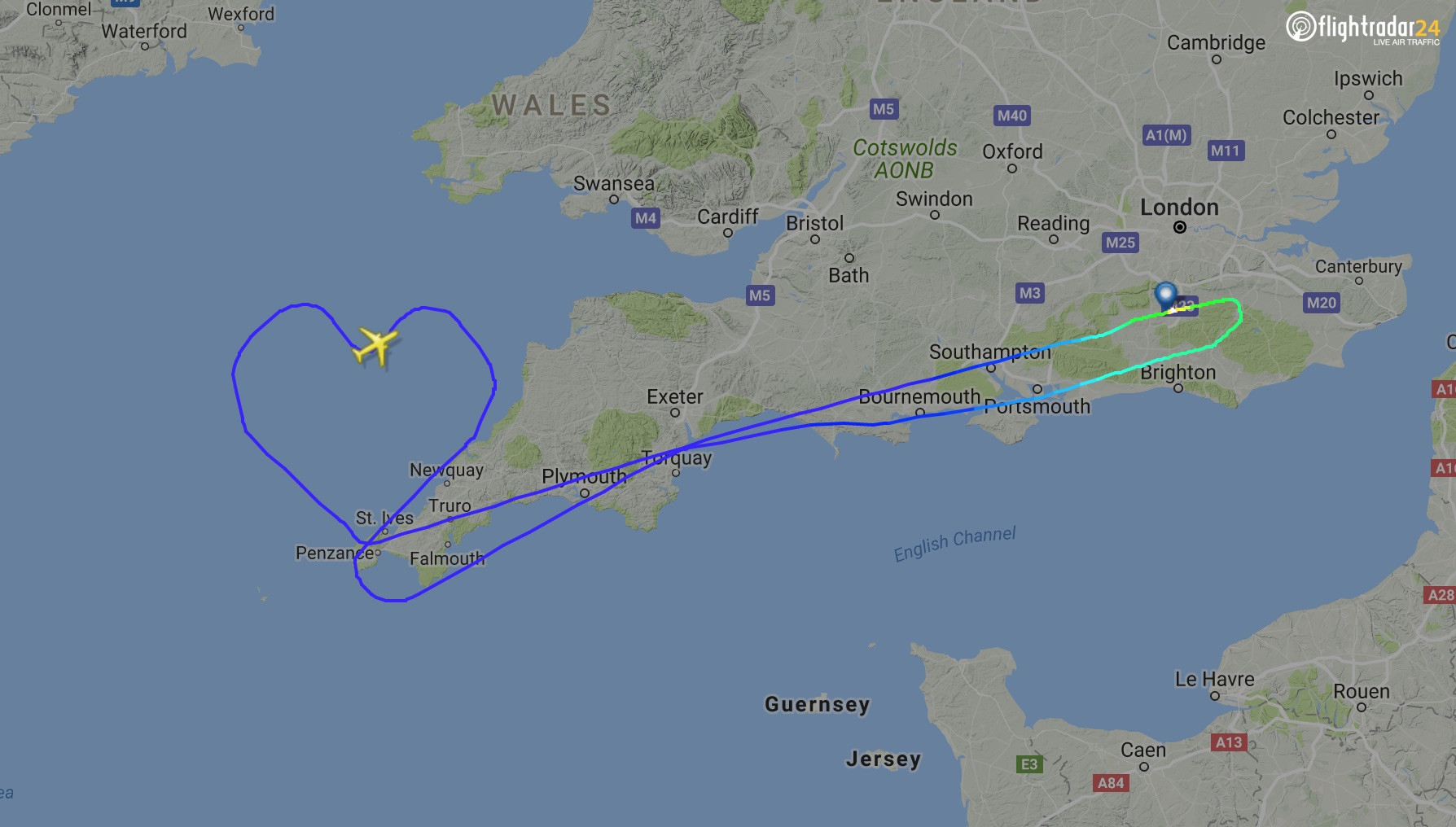 Virgin Atlantic A330 G-VMIK drawing a heart during a post-maintenance test flight on Valentine's Day