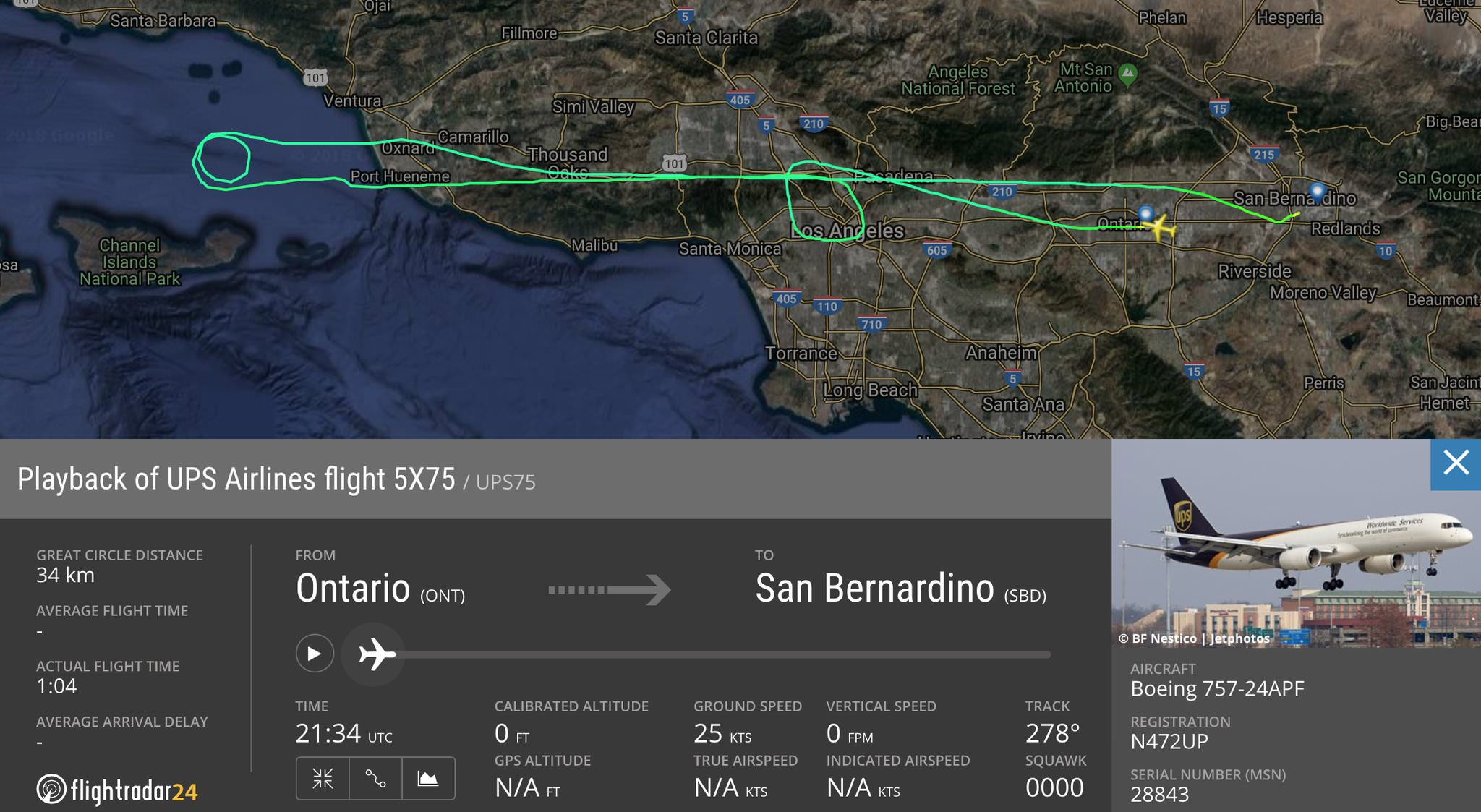 UPS 757 LA Photo Flight