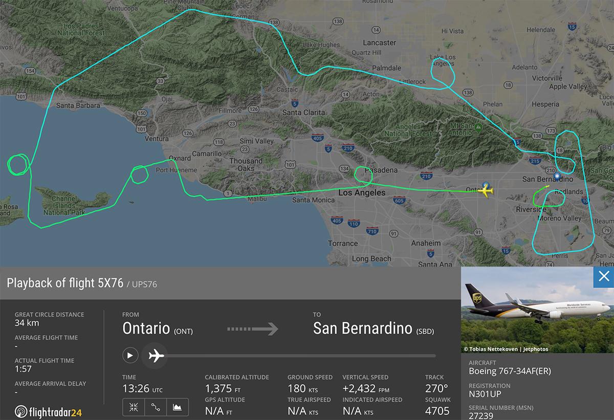 UPS 767 LA Photo Flight