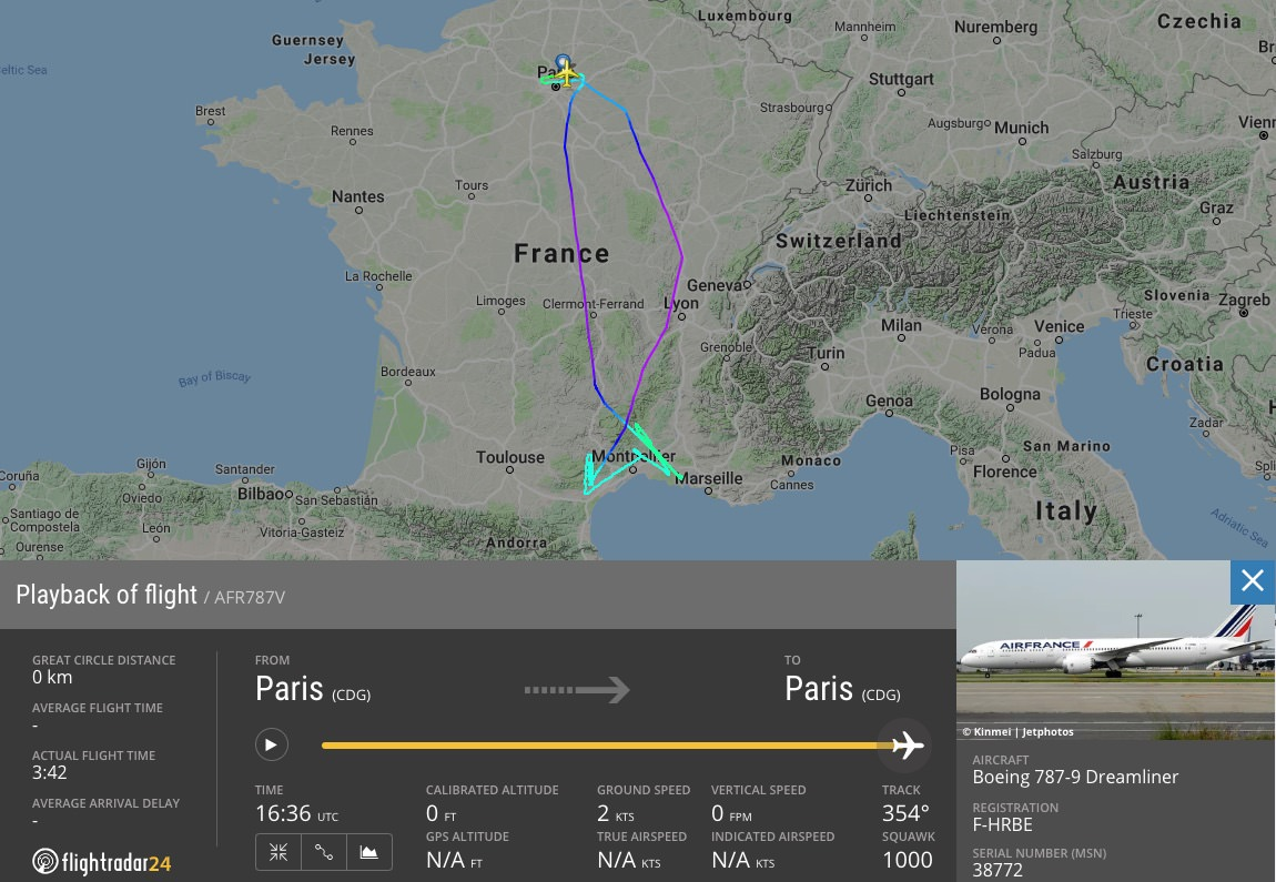 The full track of the Air France air-to-air film flight