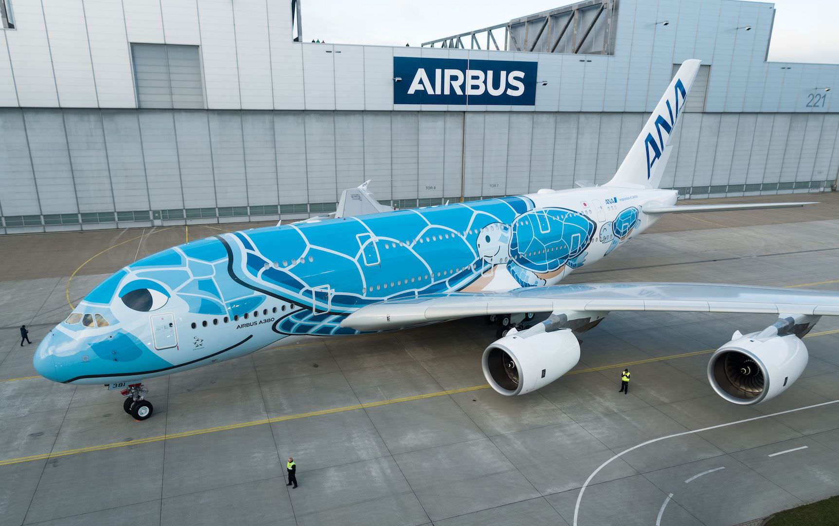 First-A380-ANA-rolls-out-of-paintshop-1