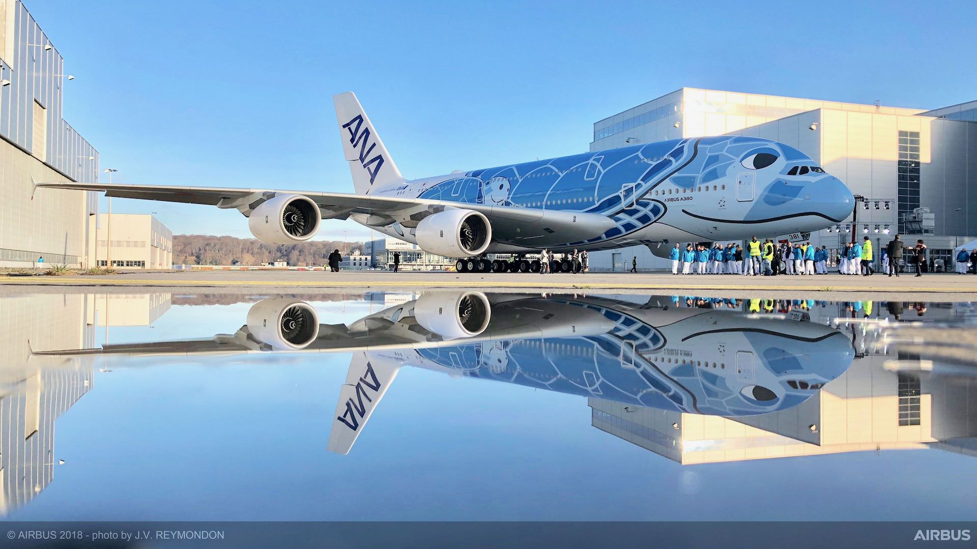First-A380-ANA-rolls-out-of-paintshop-2