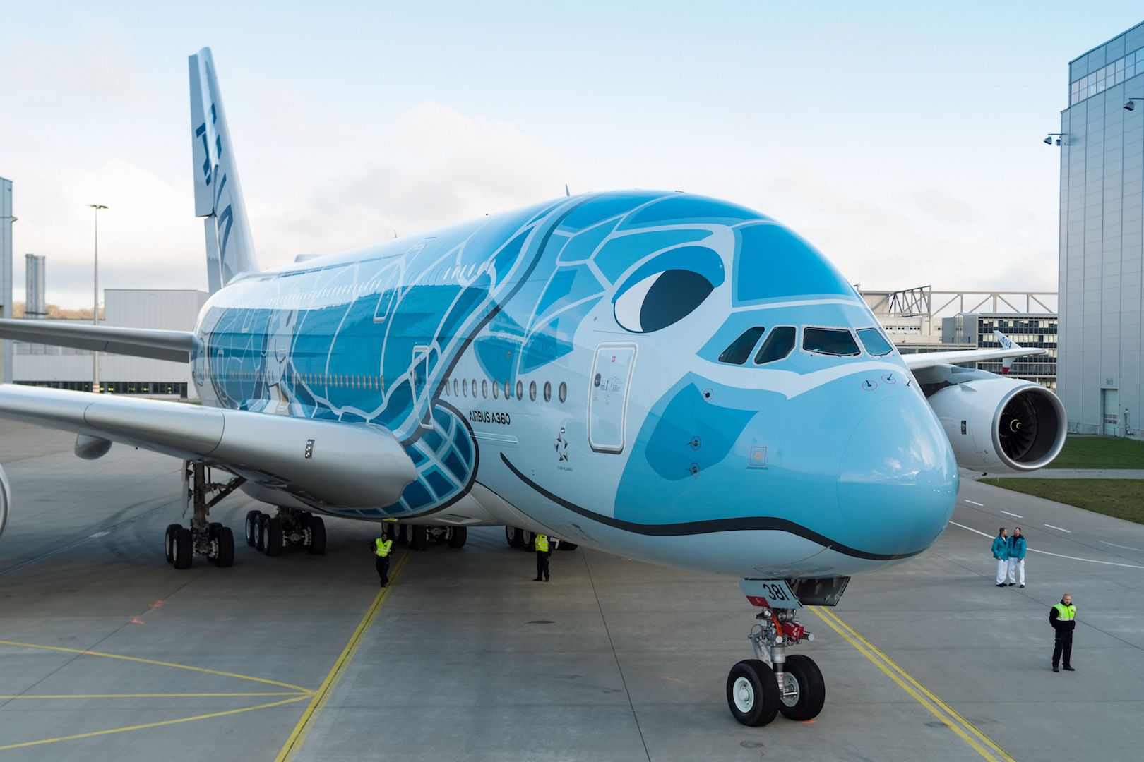 First-A380-ANA-rolls-out-of-paintshop-7