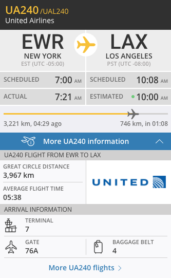 The flight information panel on Flightradar24.com