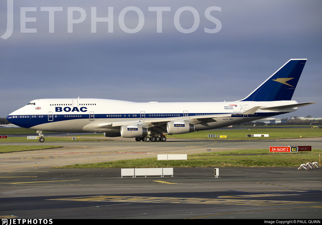 The British Airways 747 G-BYGC in freshly painted BOAC livery