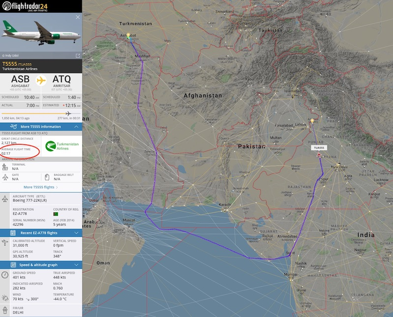 Turkmenistan Airlines flight T5555 flying around closed airspace