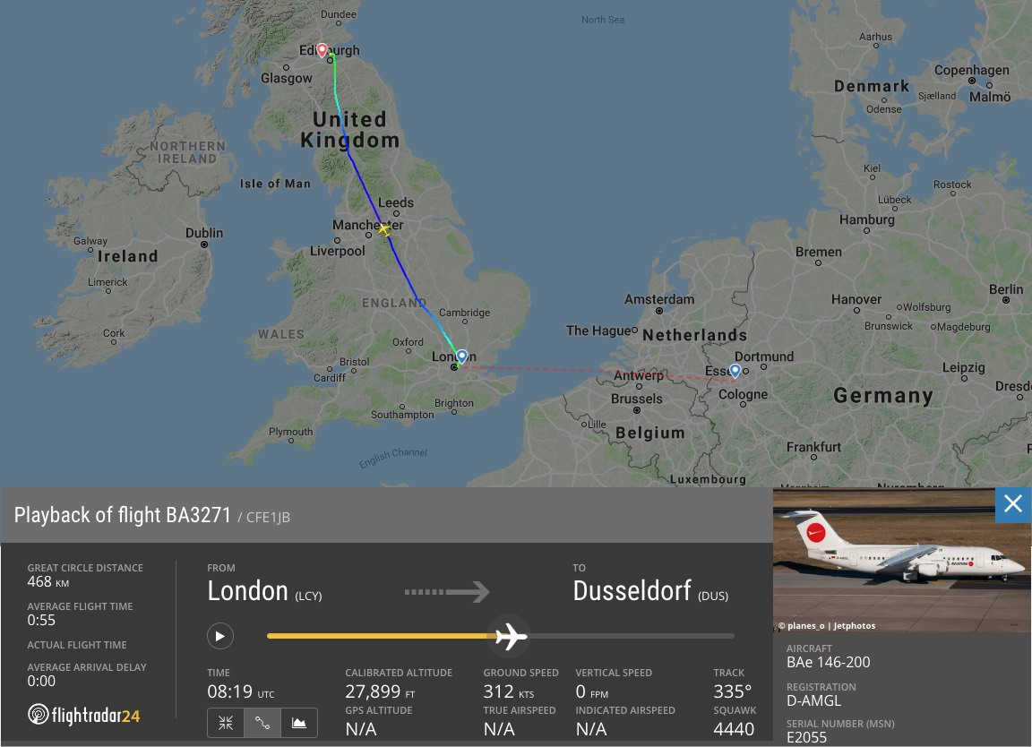 Flight path of BA3271 that mistakenly filed a flight plan  to Edinburgh