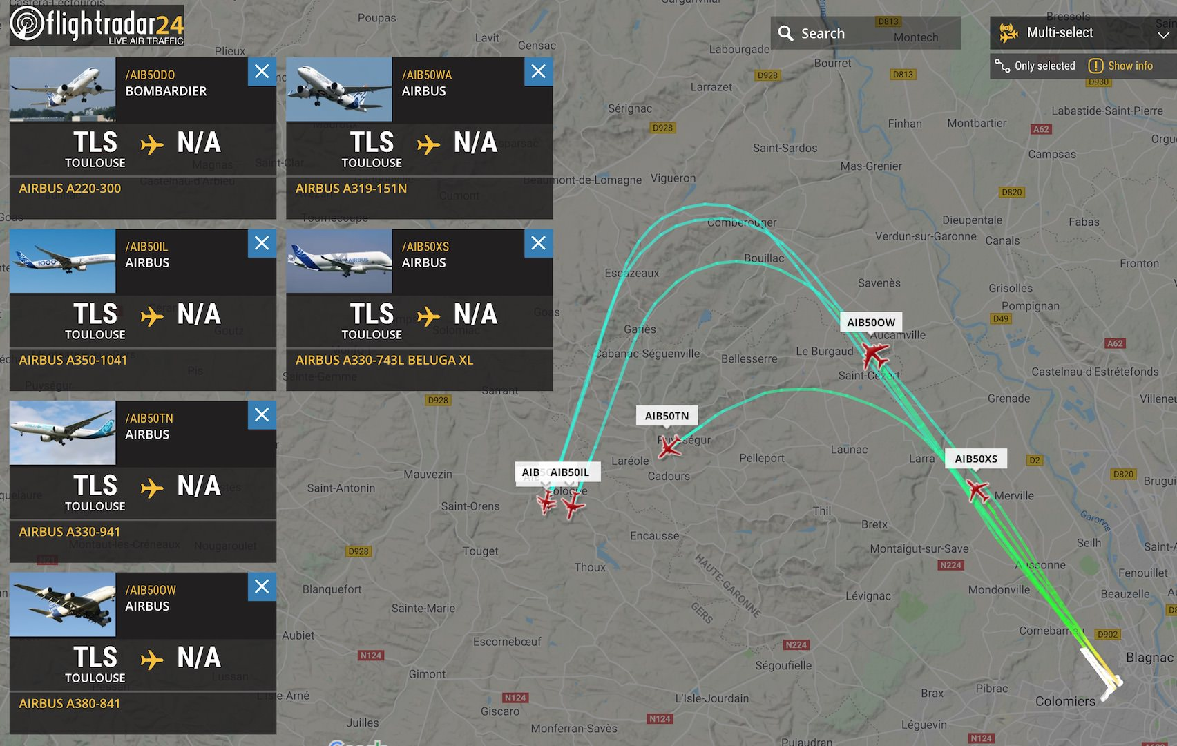 Airbus 50th anniversary departure from Toulouse