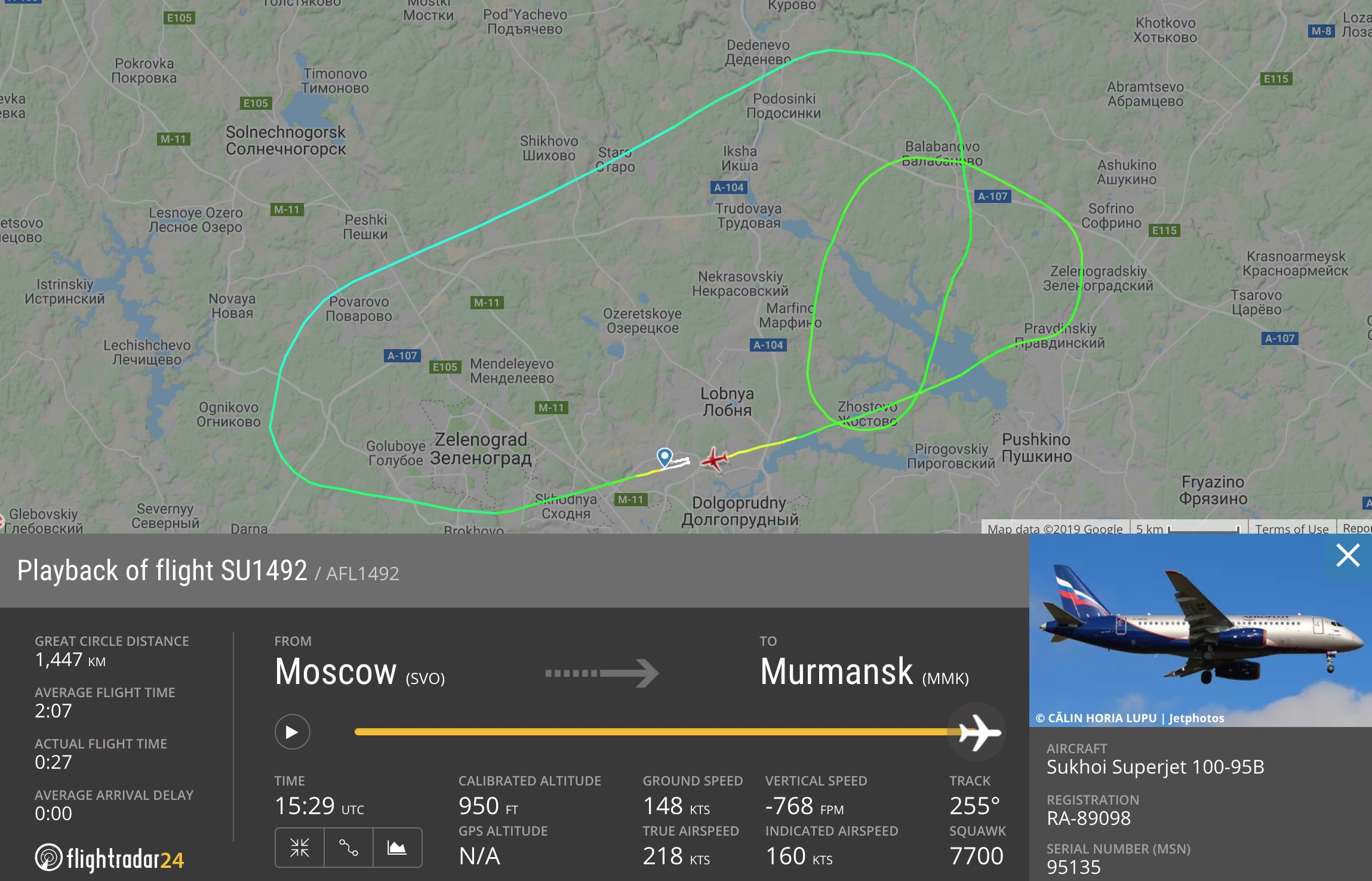 Flight path of Aeroflot 1492