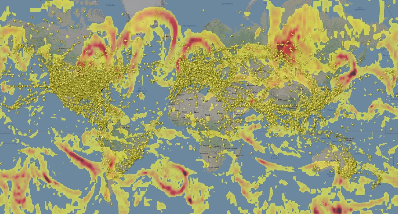 Forecast areas of clear air turbulence (CAT)