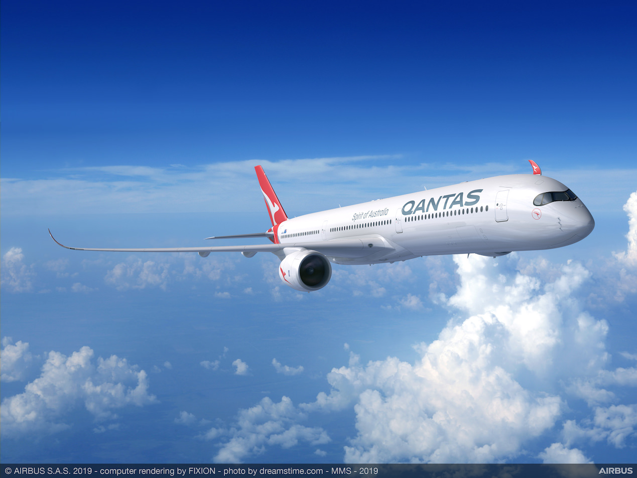 Artist's depiction of a Qantas A350