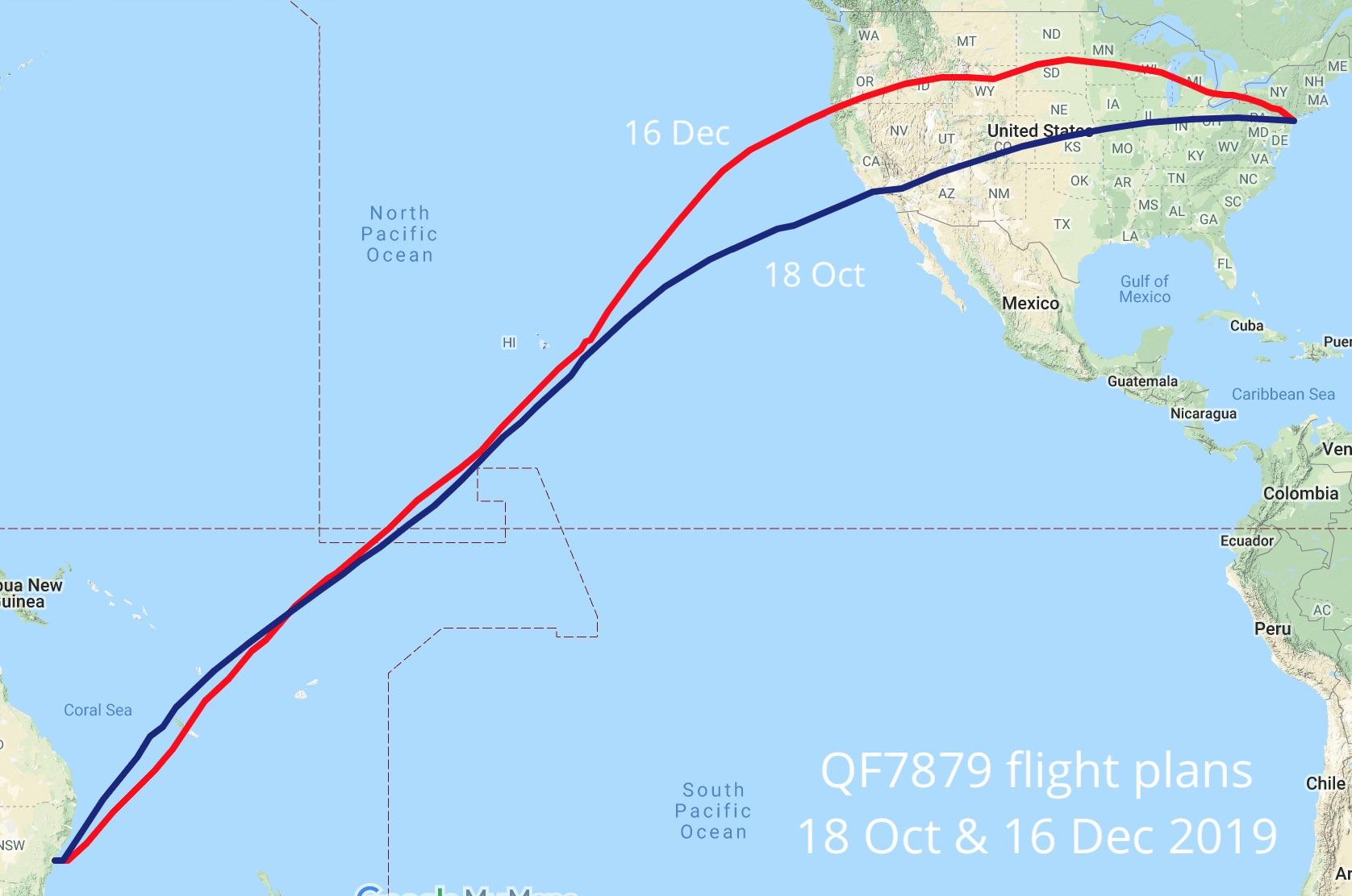 Planned flight paths of QF7879 on 18 October and 16 December