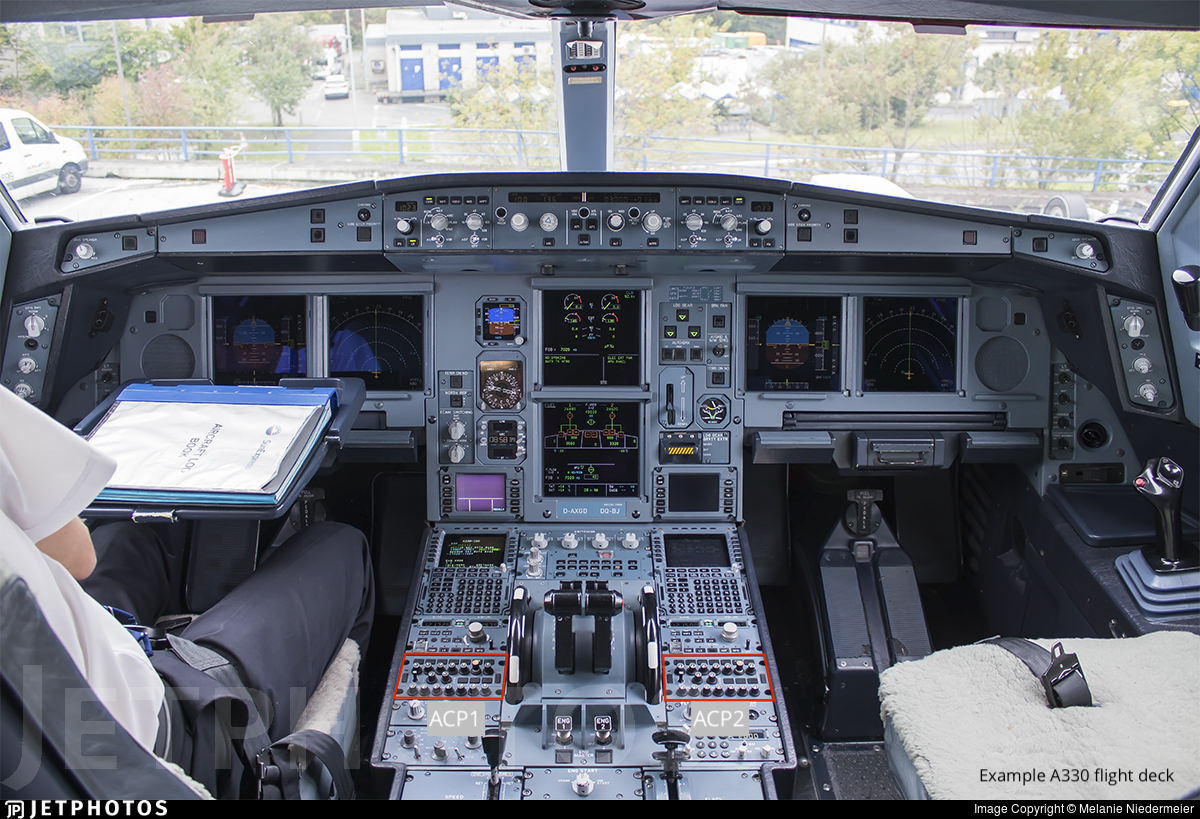 An example A330 flight deck with the ACP panels highlighted