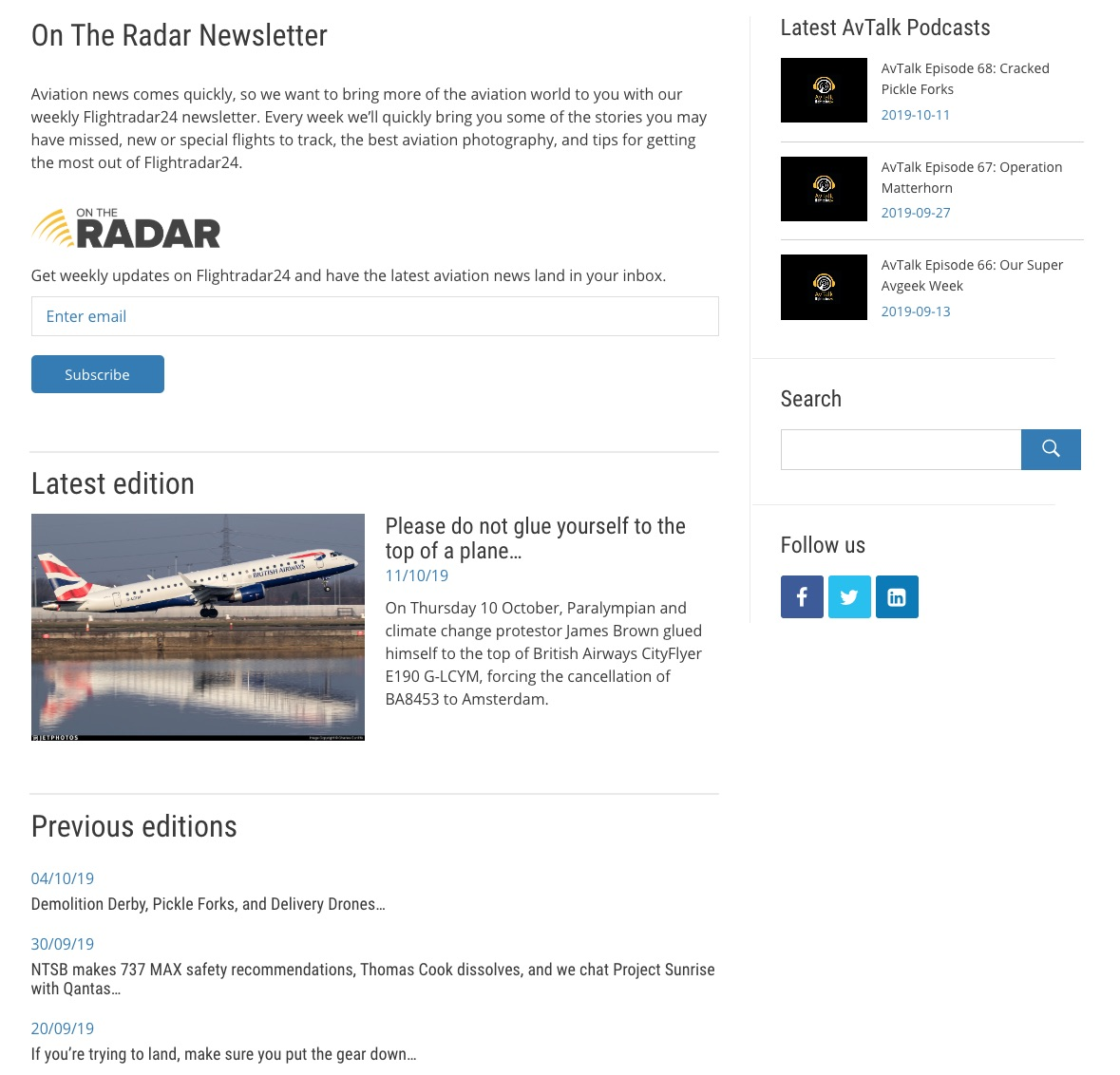 On the Radar newsletter page on the updated Flightradar24 blog