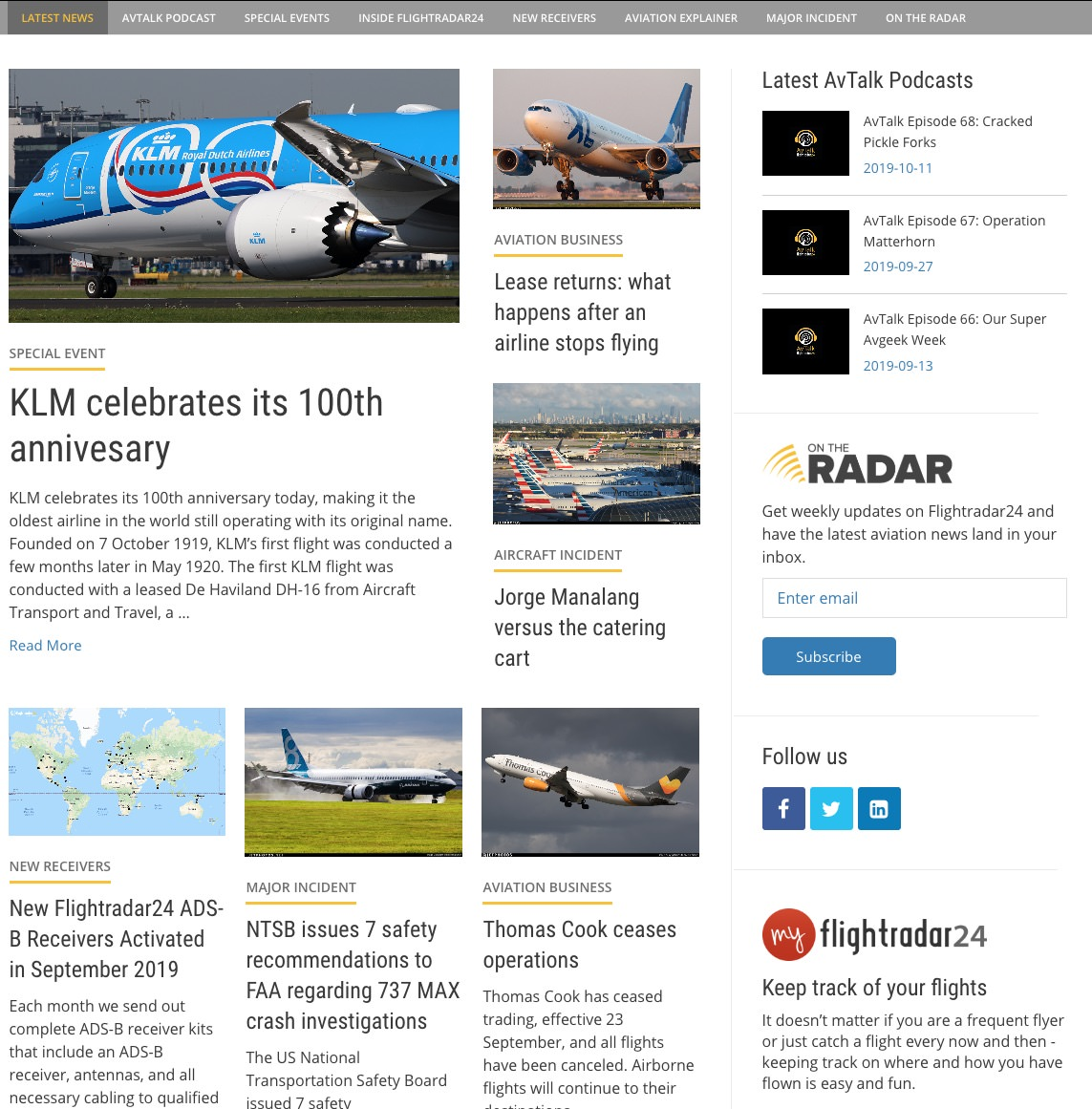 Example of new Flightradar24 blog home page