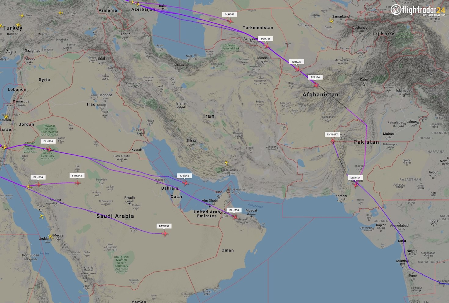 Examples of revised flight paths by European airlines avoiding Iran and Iraq.