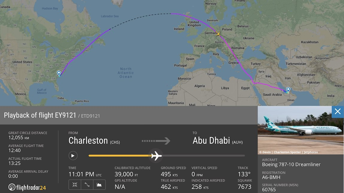 Etihad 787 Greenliner Delivery flight