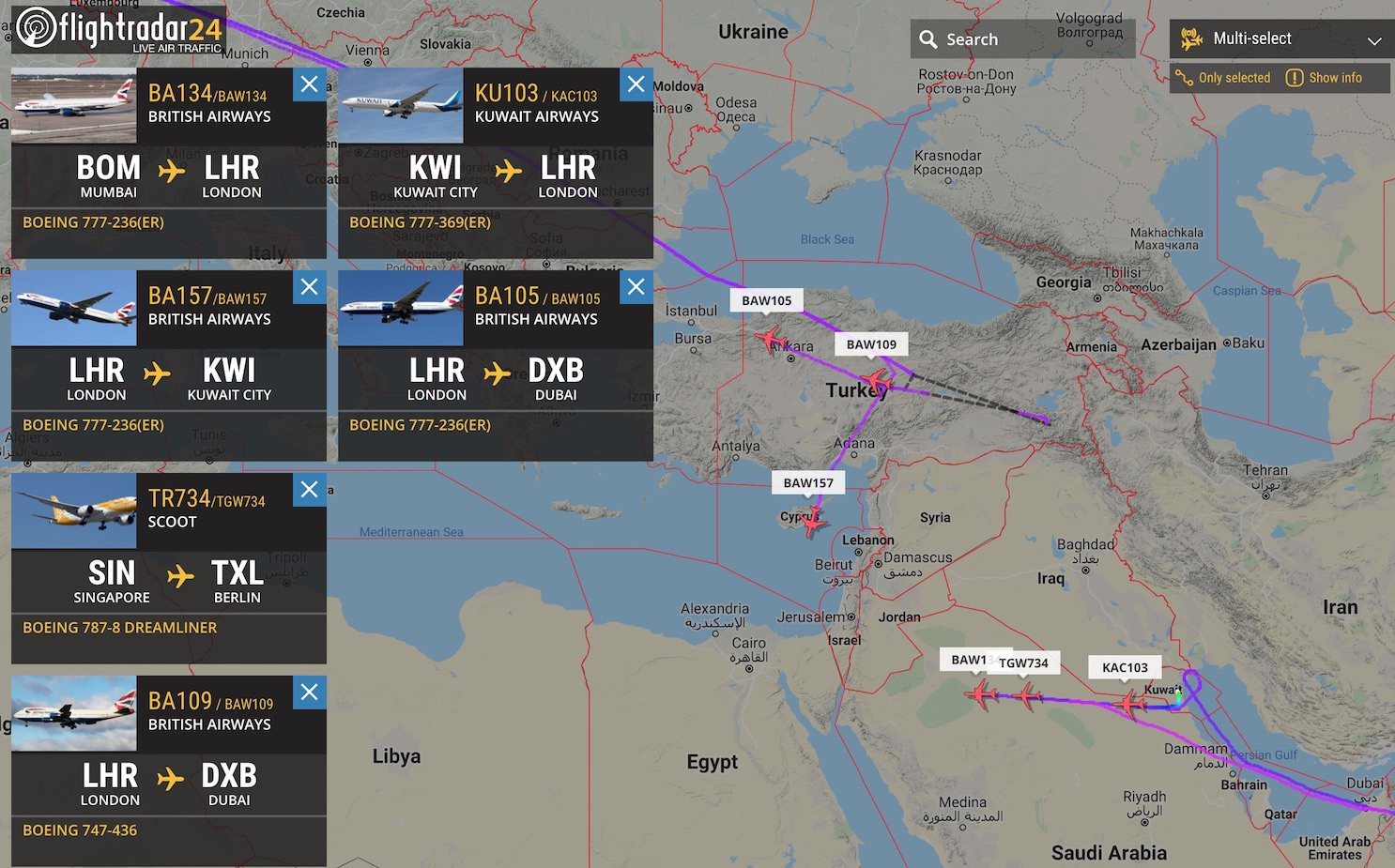 Rerouted flights and some diversions and airlines minimize risk regarding Iraq and Iran overflights