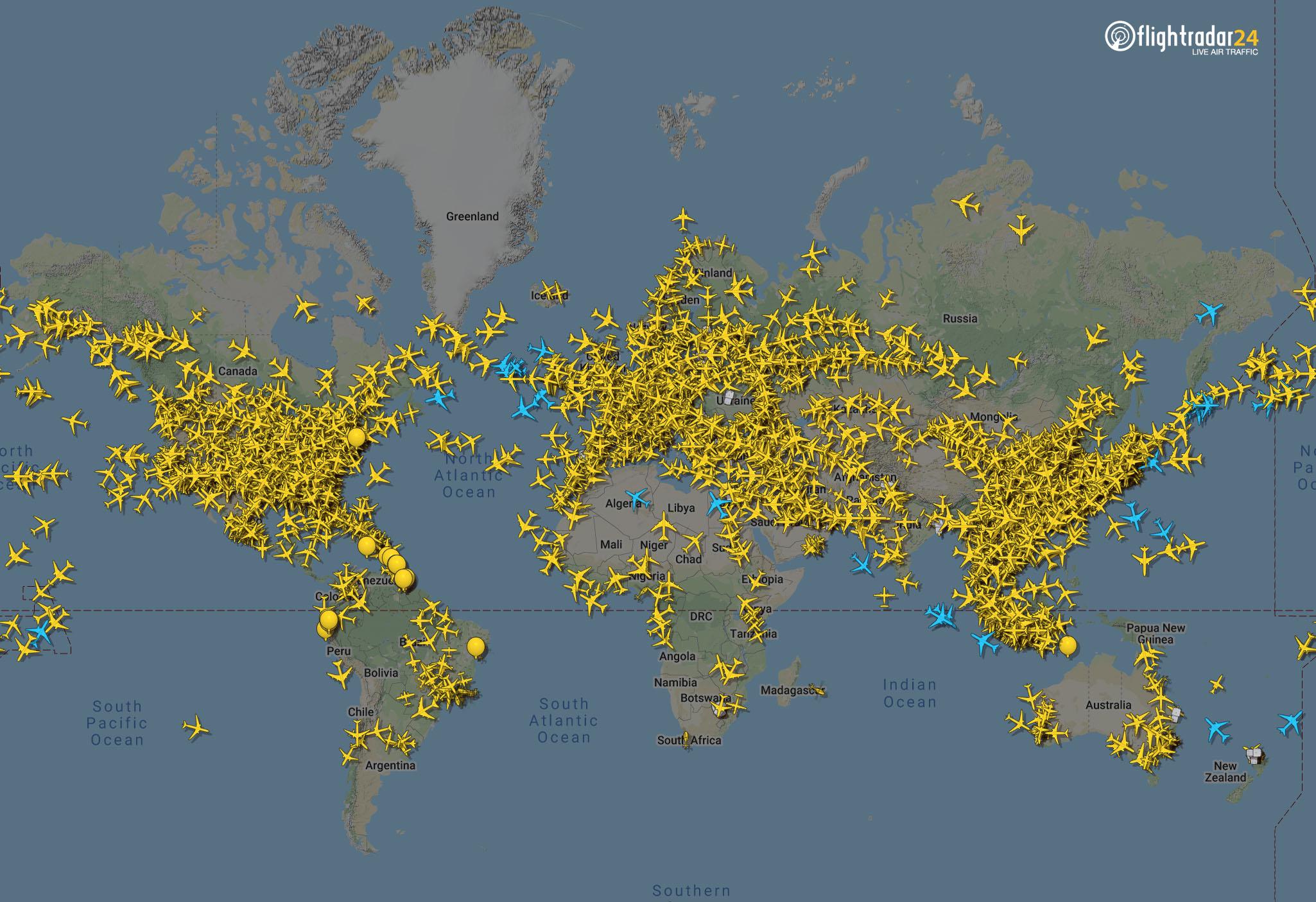 Global Air Traffic 29 March 1200UTC
