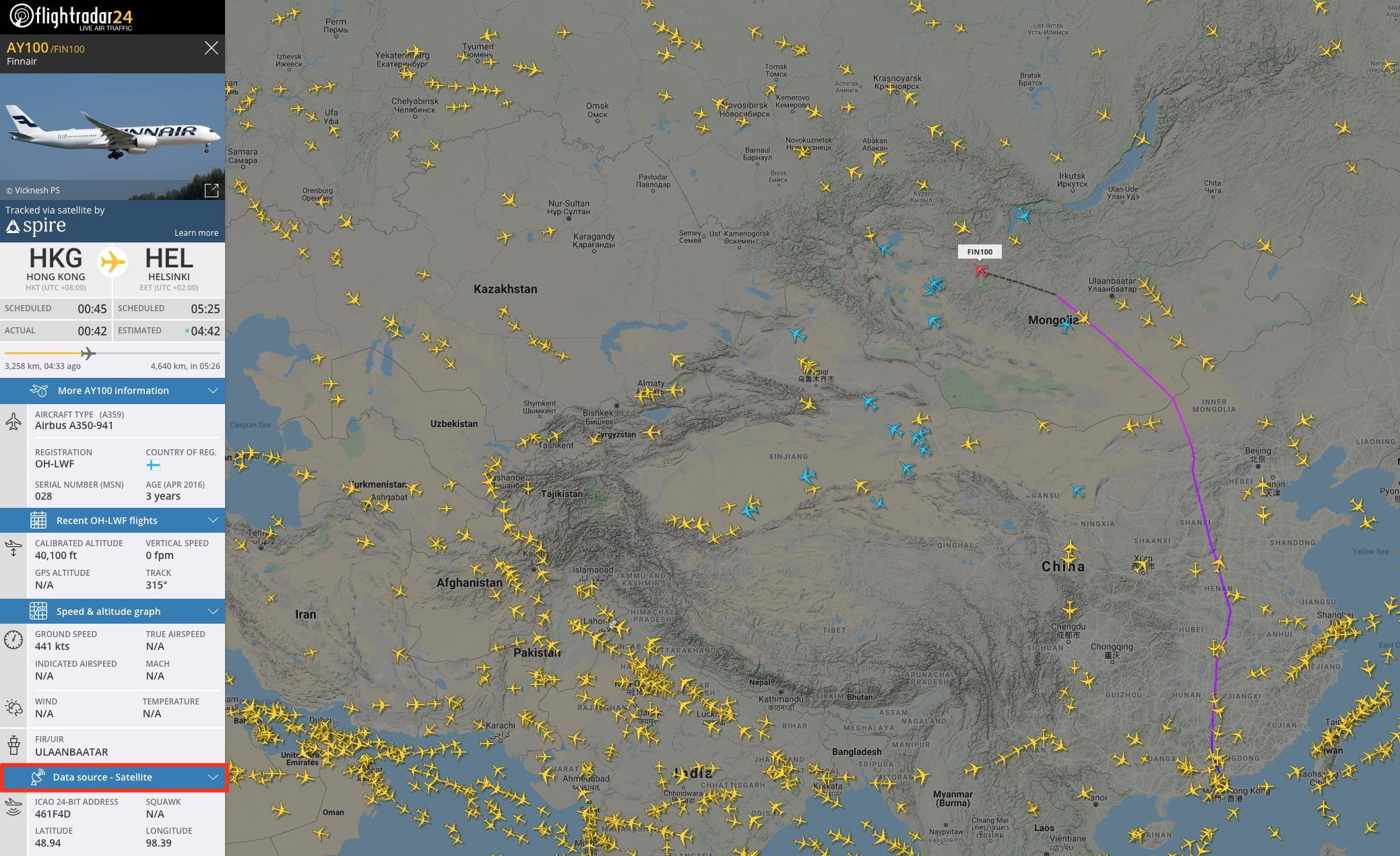 An example of a flight tracked by satellite