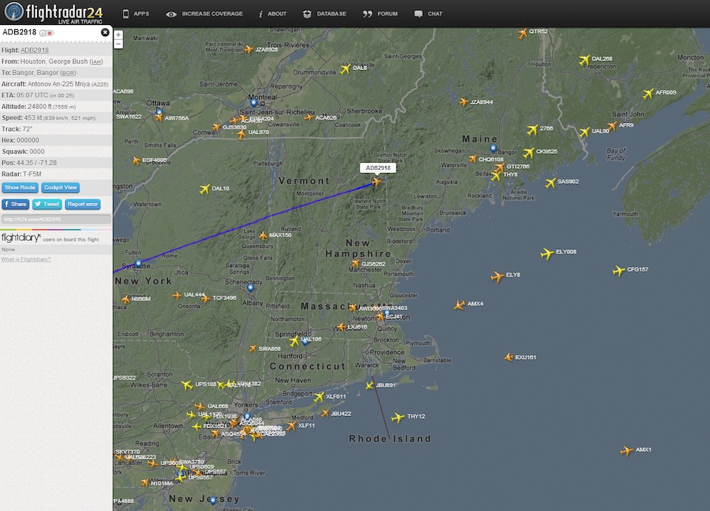 First instance of the An-225 onFlightradar24