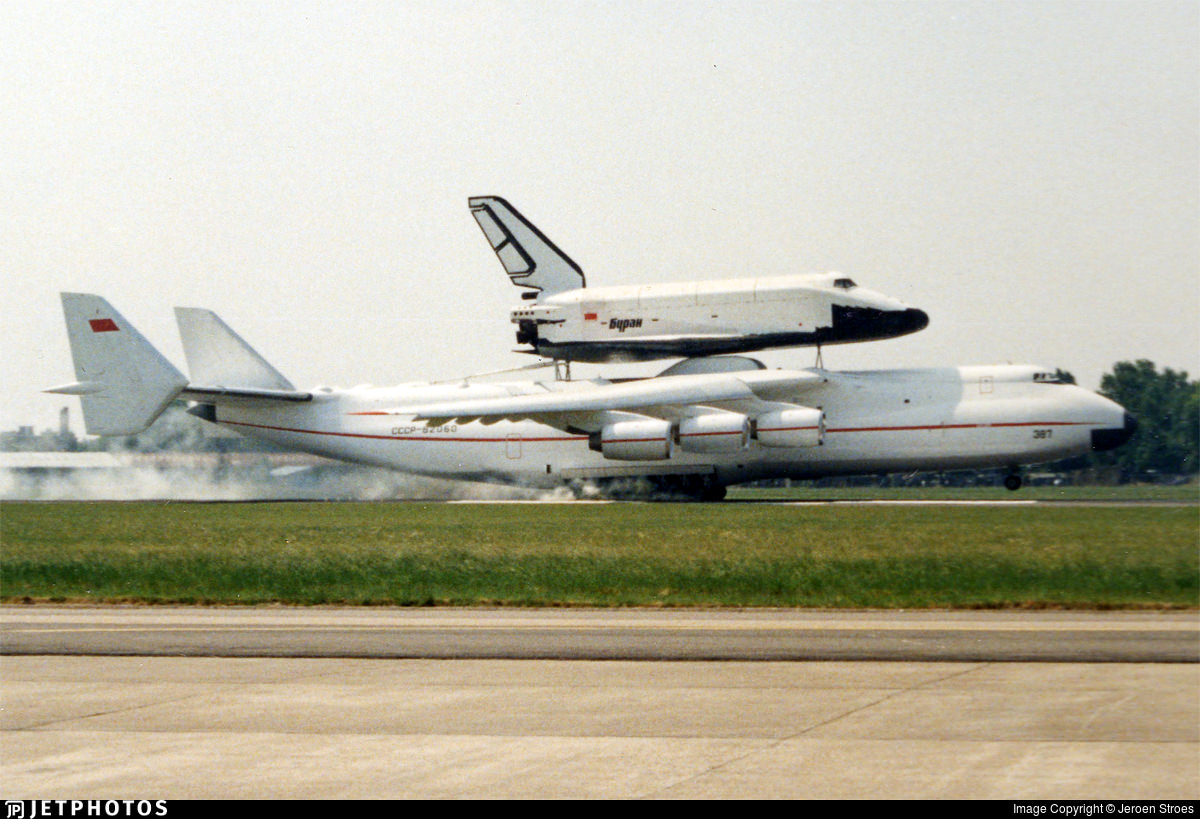 The An-225 carrying the Buran