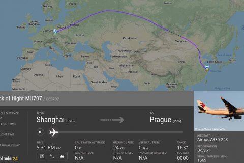 China Eastern A330 fligth path