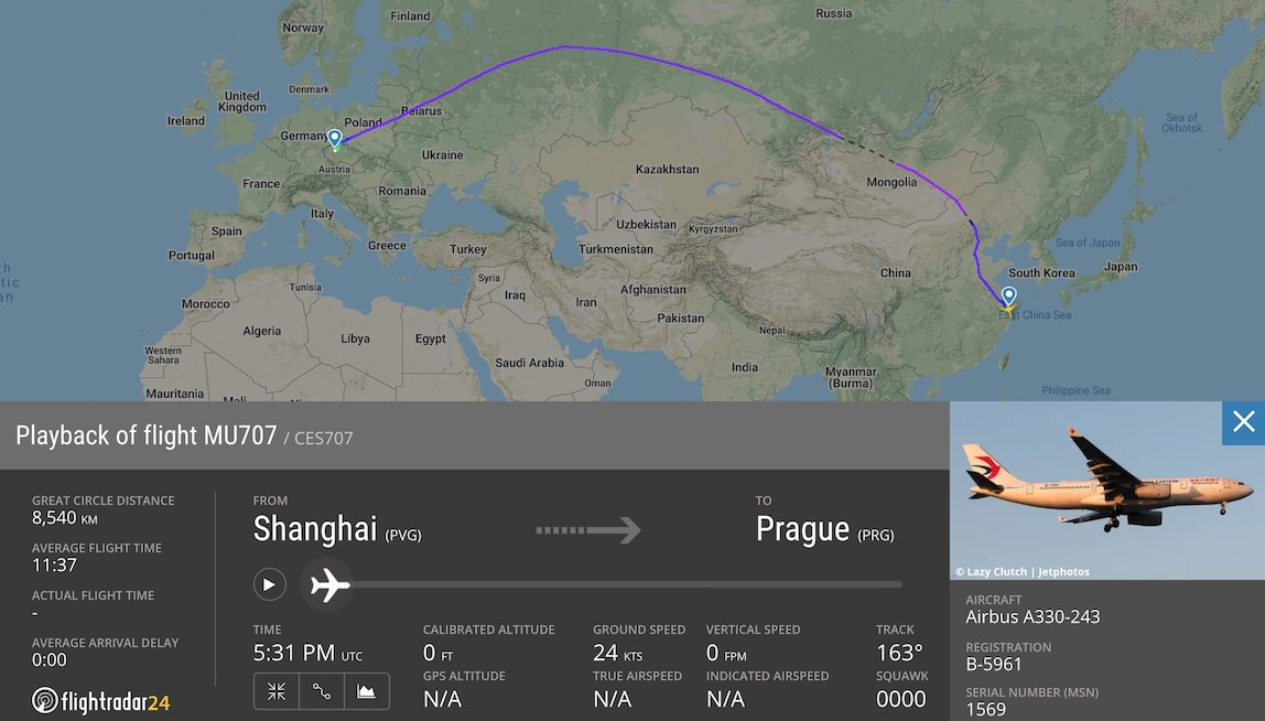 China Eastern A330 fligth path