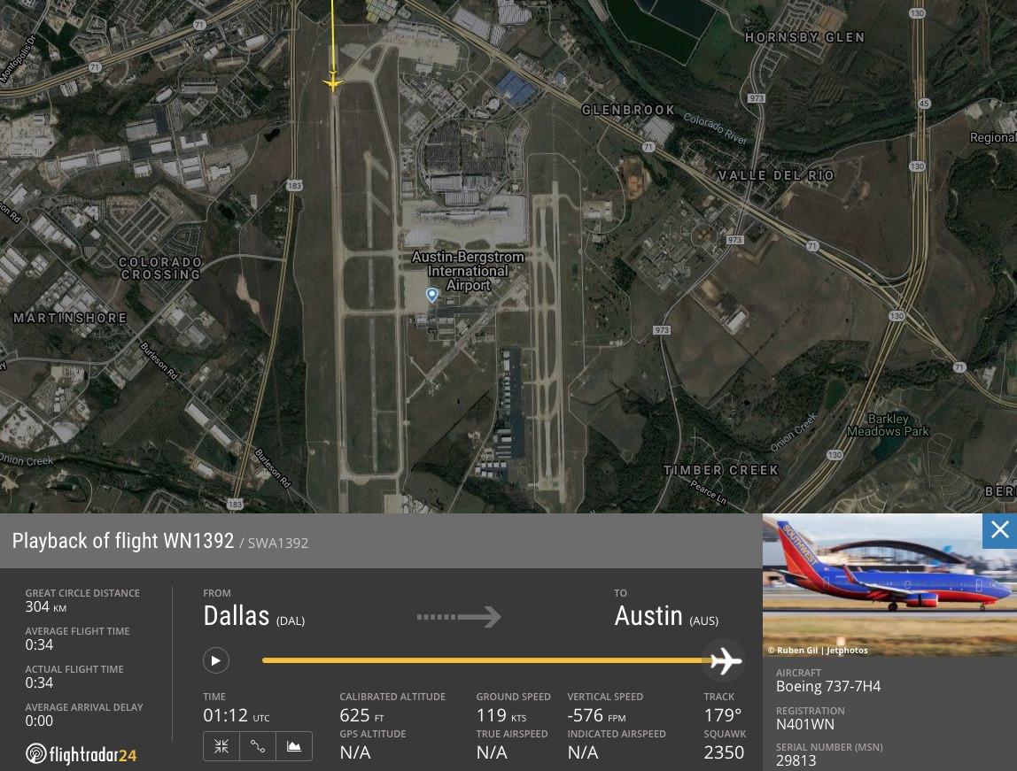 WN1392 flight path